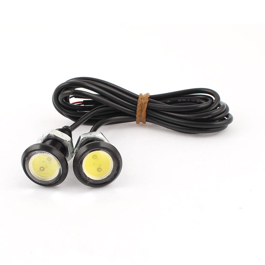 2 Pcs Thread Mount COB Eagle Eye White Light Fog Daytime Running Tail Sidelight Bulb