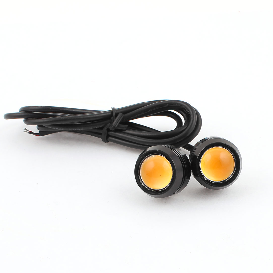 Pair 20mm Thread Eagle Eye Yellow LED Light DRL Daytime Running Backup Lamp
