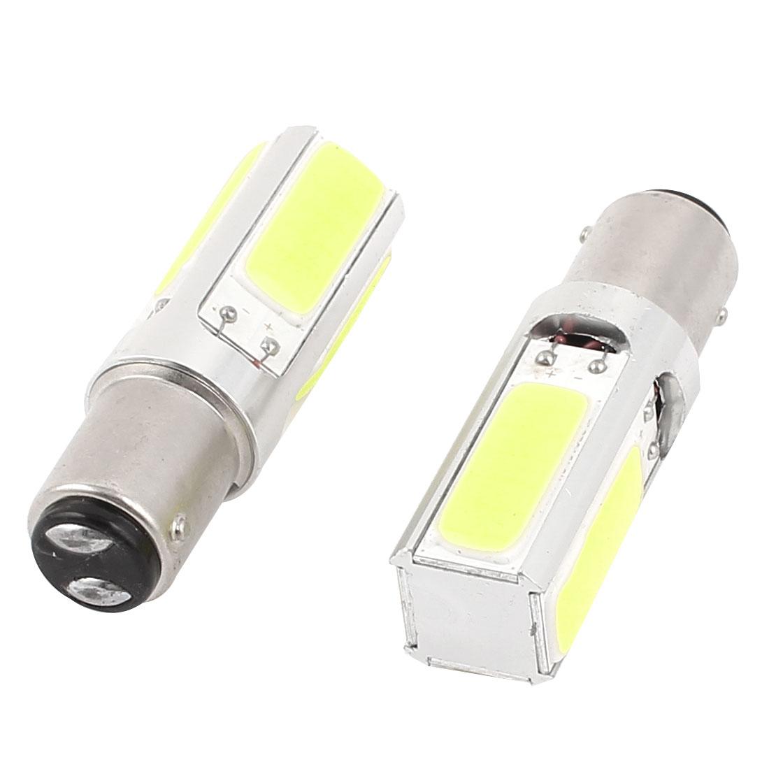 Car P21 1157 Socket 4 COB White Projector Lens Turn Tail Light Lamp Bulb 2 Pcs