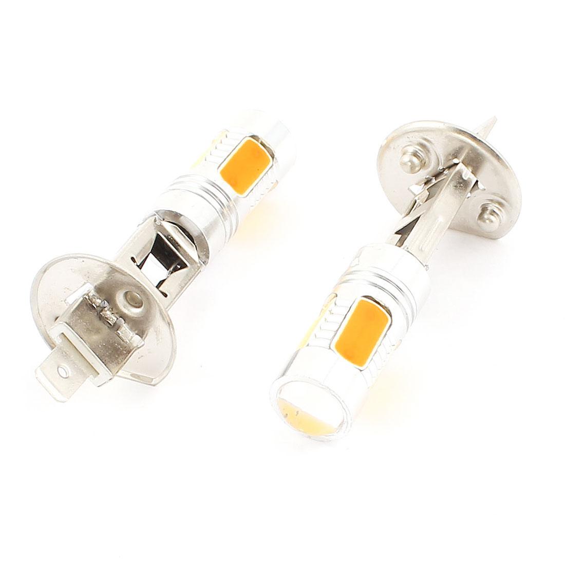 2 Pcs 5 LED COB Bulb Car Fog Driving Lamp DRL Light Yellow DC 12V