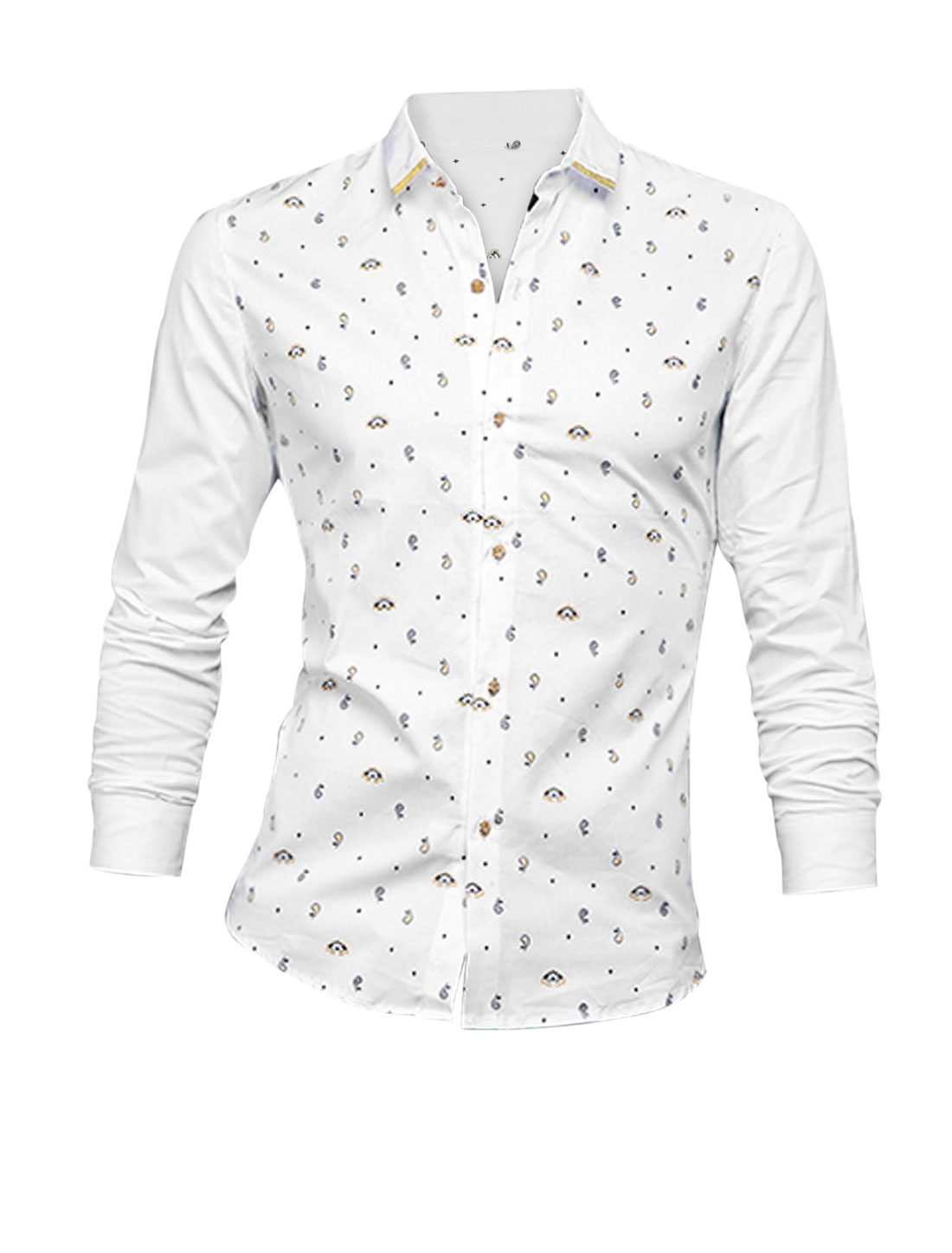 Man White Single Breasted Paisleys Pattern Button Cuffs Slim Fit Shirt S