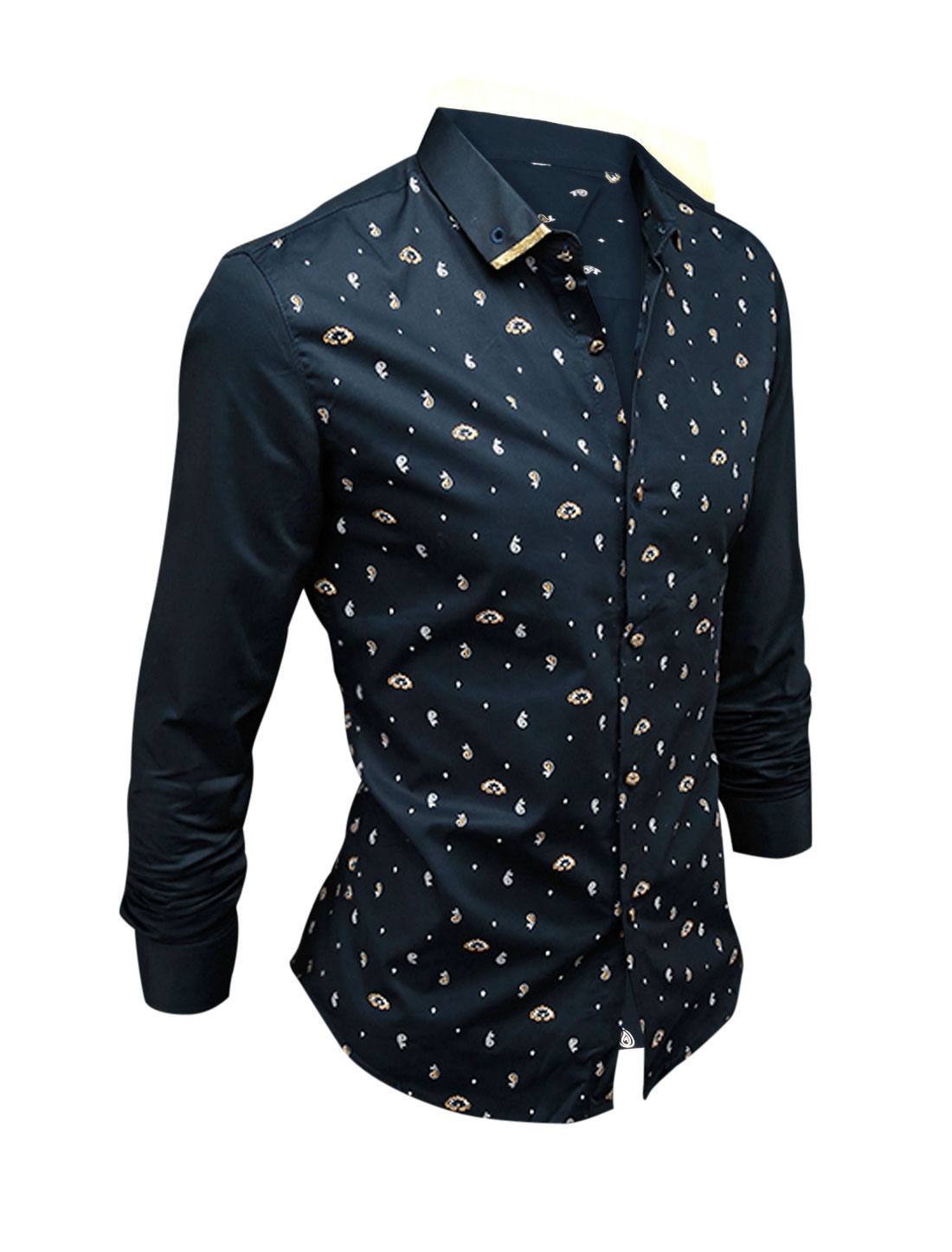 Man Navy Blue Button Closure Paisleys Pattern Button Cuffs Slim Fit Shirt S