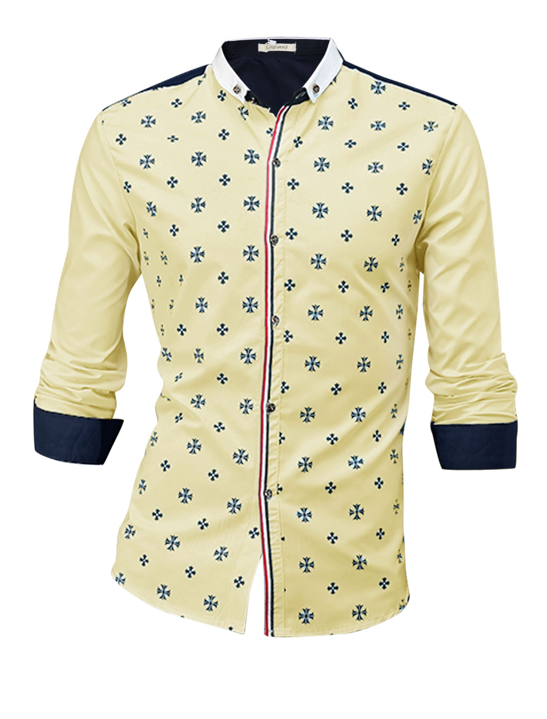 Man Light Yellow Cross Pattern Contrast Cuffs Slim Fit Button Down Shirt S