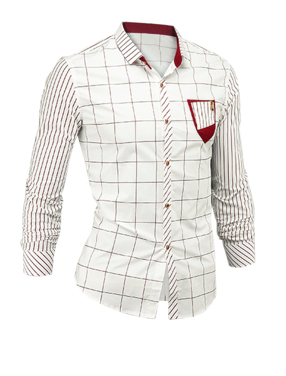Man White Stripes Check Pattern Pocket Design Button Closure Lesiure Shirt S