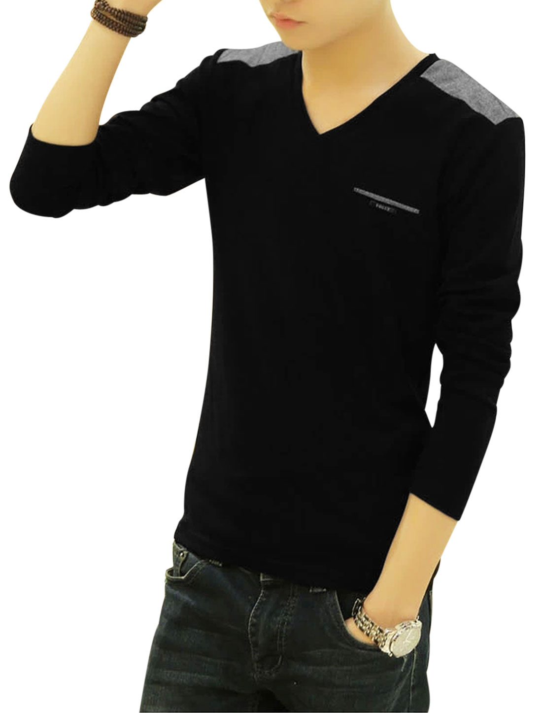 Man Black Pullover Contrast Color Long Sleeves Slim Fit Casual T-Shirts M