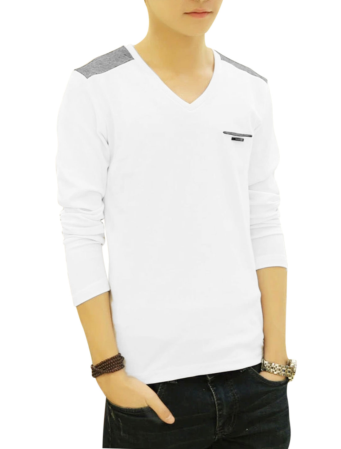 Man White Pullover Color Block Full Sleeves Slim Fit Casual T-Shirts M