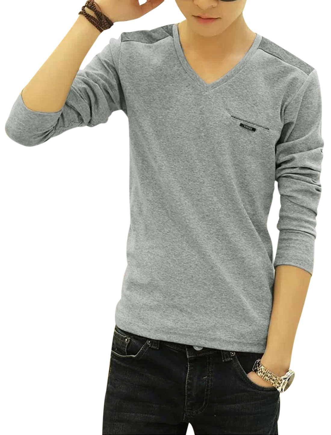 Man Light Gray Pullover Color Block V Neck Slim Fit Leisure T-Shirts M