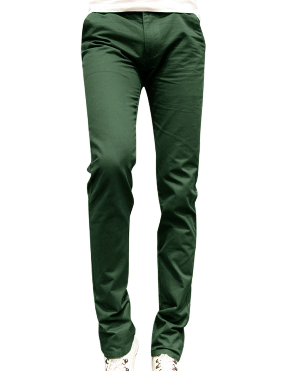 Men Zip Fly Design Button Closed Straight Leg Pants Army Green W30