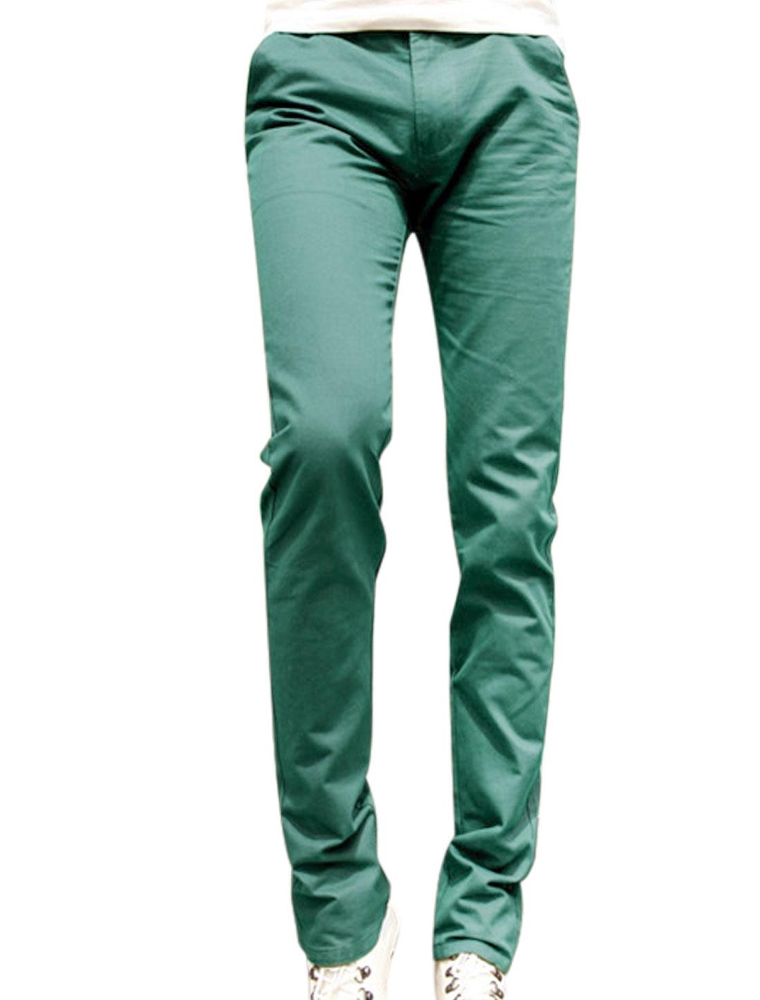 Man Button Closure Slim Fit Mid Rise Aqua Straight Leg Pants W30
