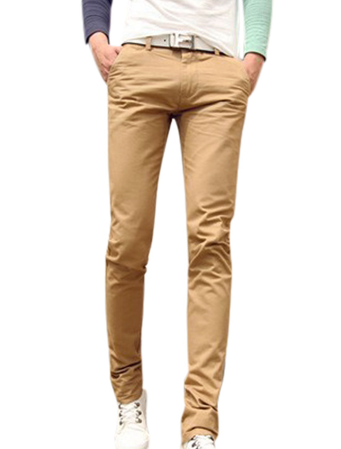 Button Up Zip Fly Natural Waist Khaki Straight Leg Pants for Men W30