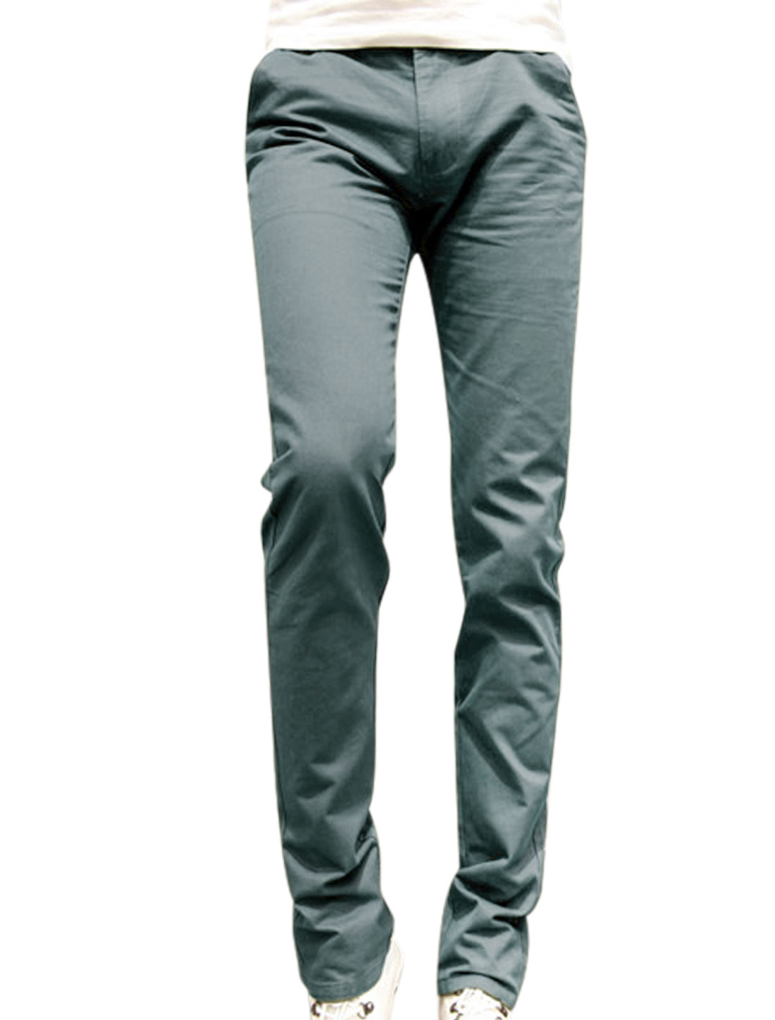 Mid Rise Slim Fit Button Closed Cool Gray Straight Leg Pants for Man W30