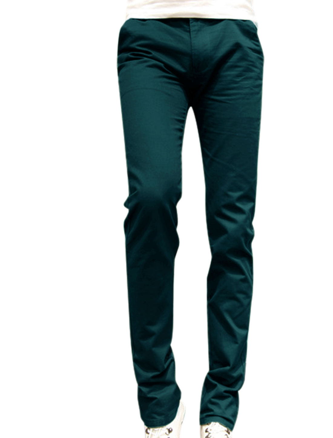 Men New Style Double Pocket Sides Zip Fly Navy Blue Straight Leg Pants W30