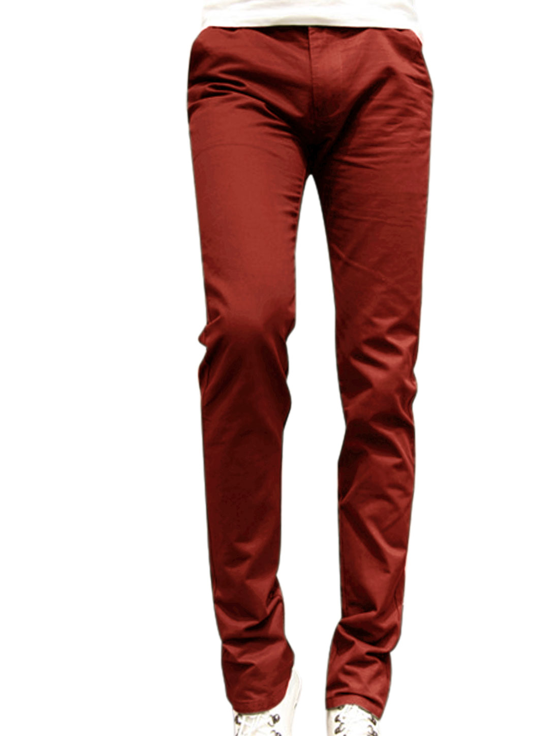 Mid Rise Belt Loop Design Four Pocket Red Straight Leg Pants for Man W30