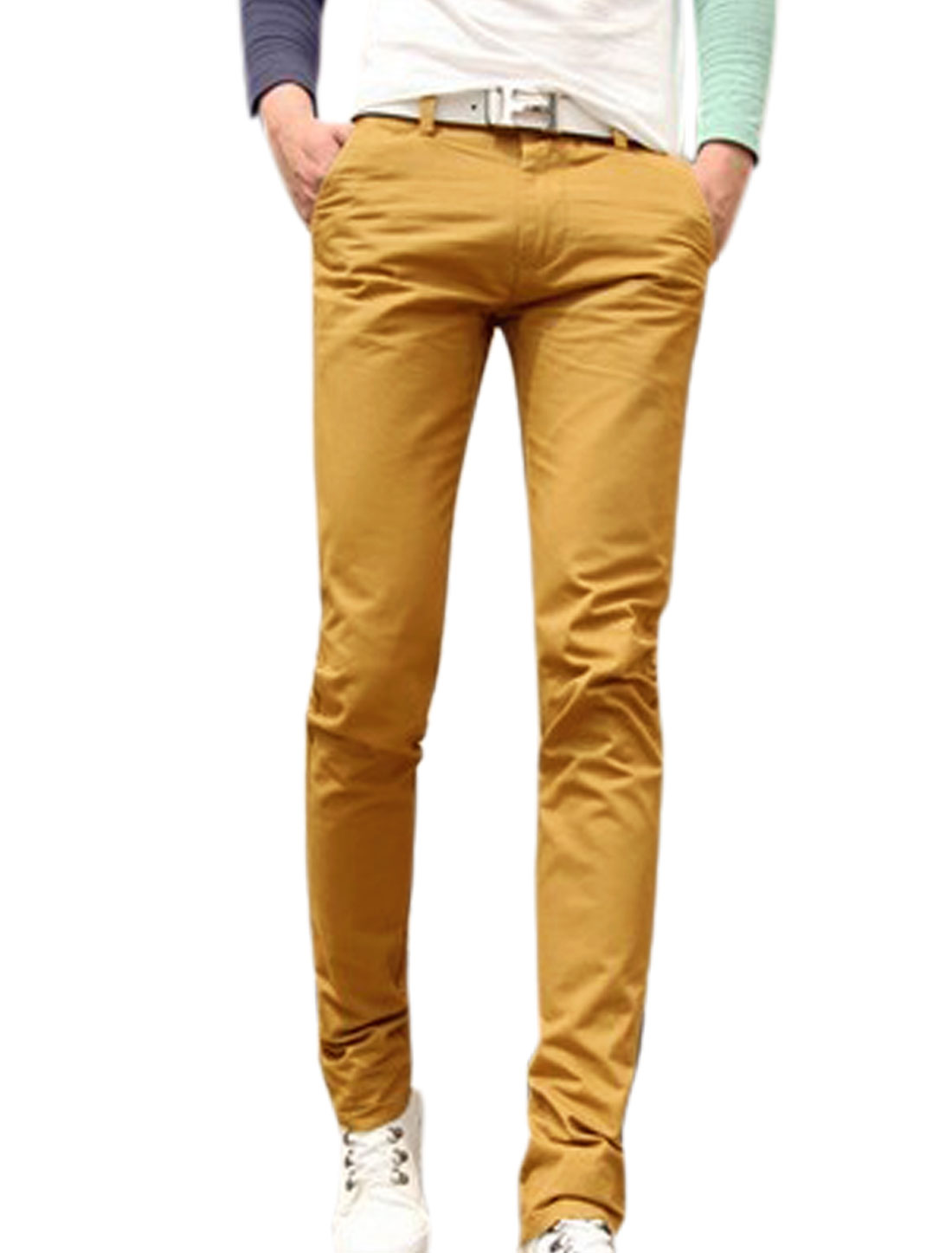Man Fashion Design Natural Waist Slim Fit Ochre Straight Leg Pants W30