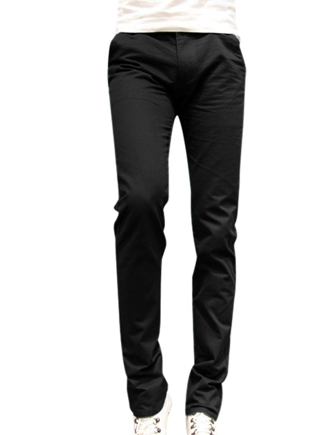 Men Cozy Fit Zip Fly Button Closure Mid Rise Black Straight Leg Pants W30