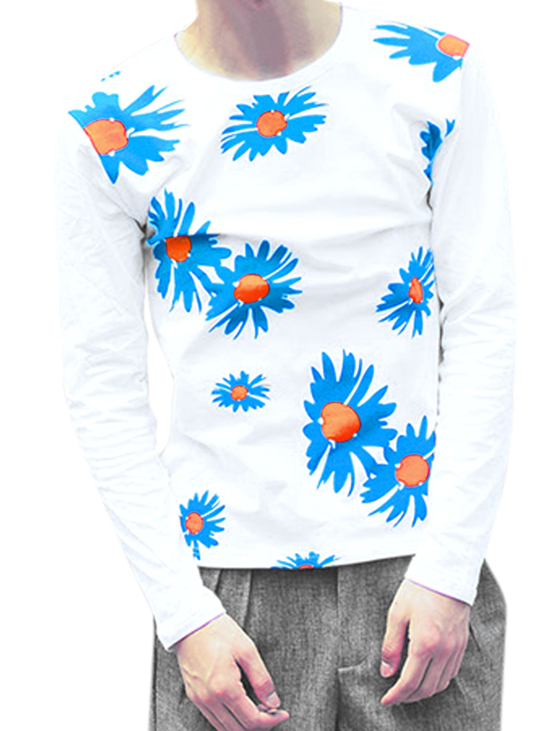 Men Round Neck Long Sleeve Floral Prints Chic Slim Fit T-Shirt White M