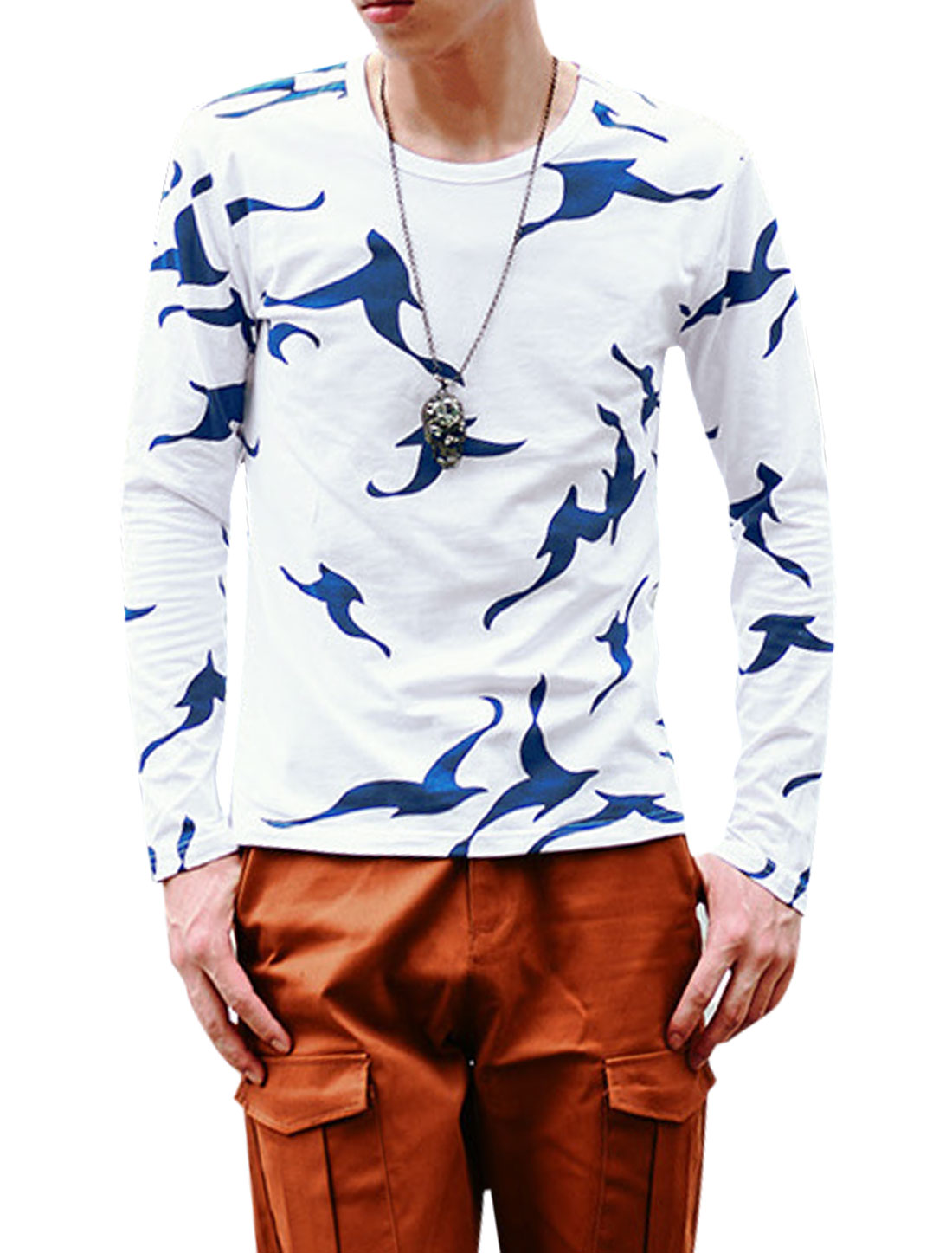 Men Round Neck Long Sleeve Sea Gull Pattern Casual T-Shirt White M