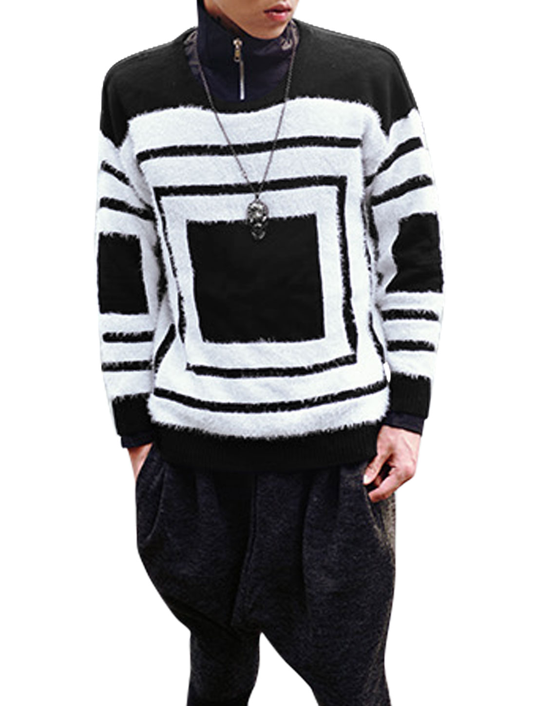 Men Round Neck Long Sleeves Check Pattern Color Block Leisure Knitted Top Black S