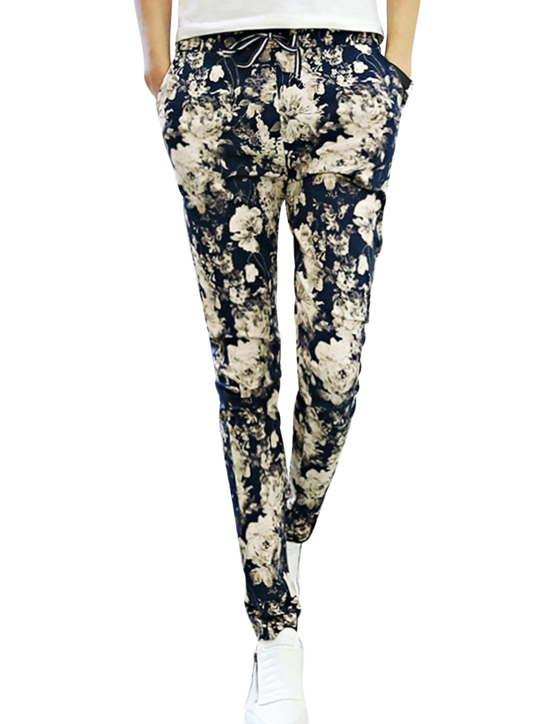 Man Navy Blue Beige Mid Rise Floral Prints Elastic Waist Drawstring Tapered Pants W28