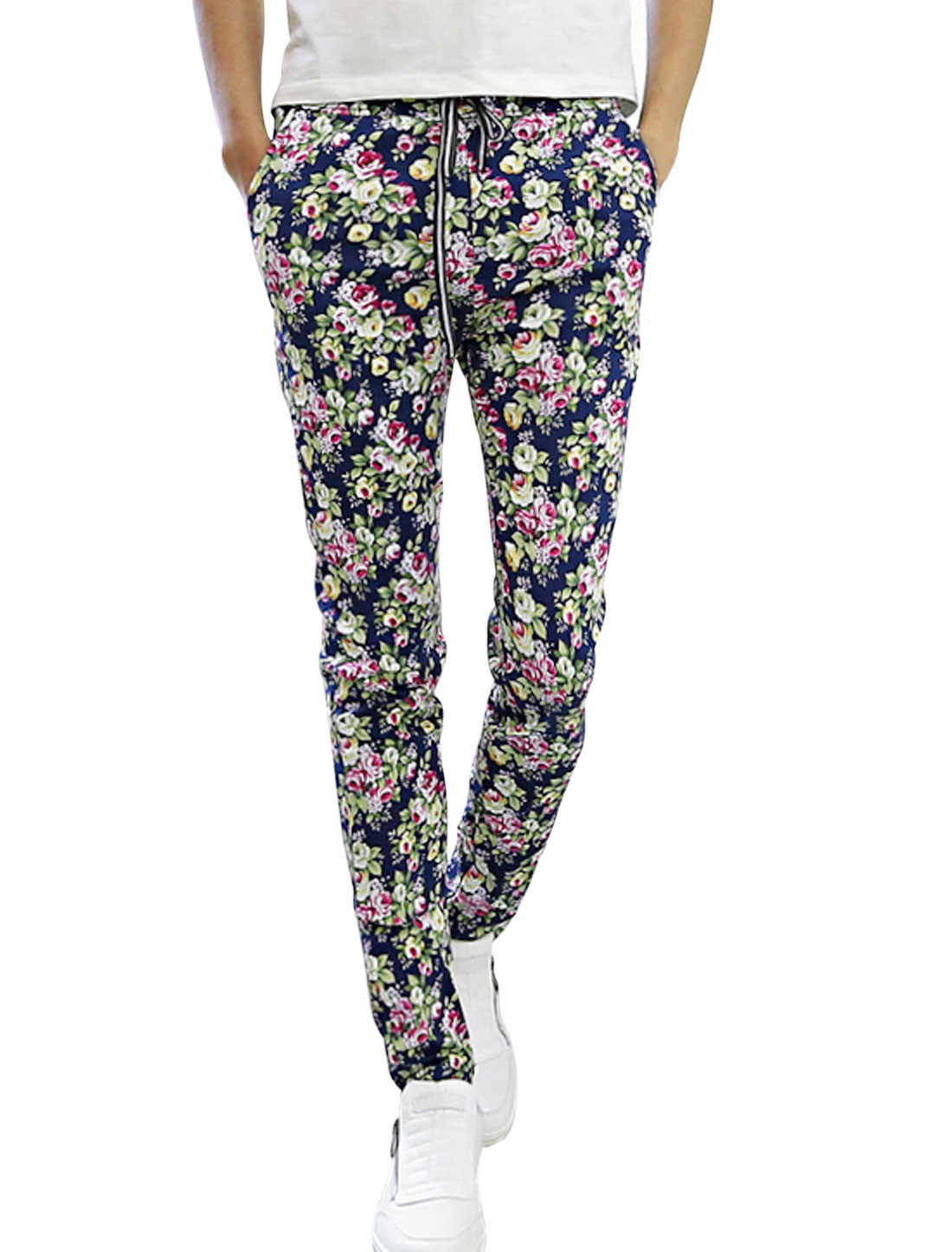 Man Navy Blue Fuchsia Floral Prints Elastic Waist Drawstring Tapered Pants W28