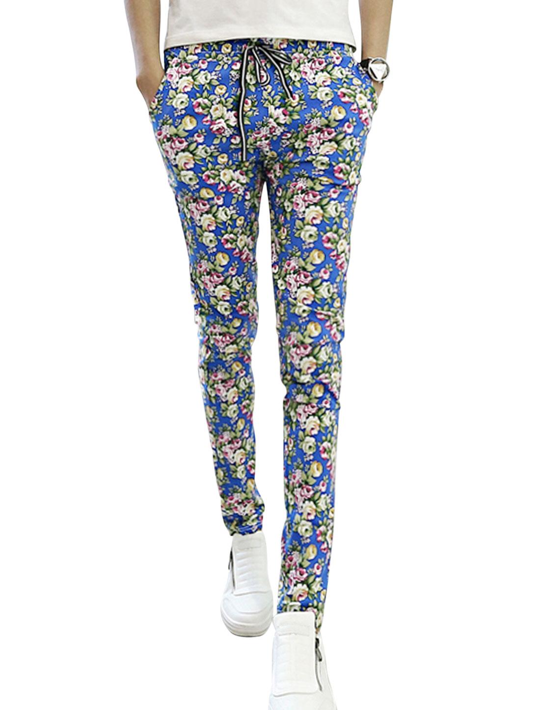 Man Royal Blue Fuchsia Mid Rise Floral Prints Elastic Waist Drawstring Pants W28
