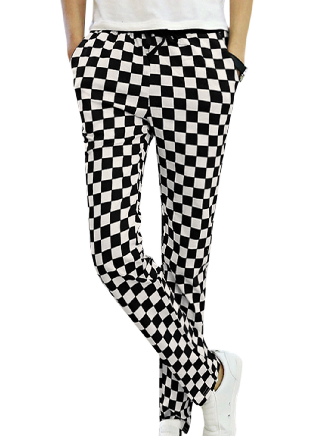 Men Trendy Checkered Pattern Elastic Waist Skinny Chic Trouser Black White W28
