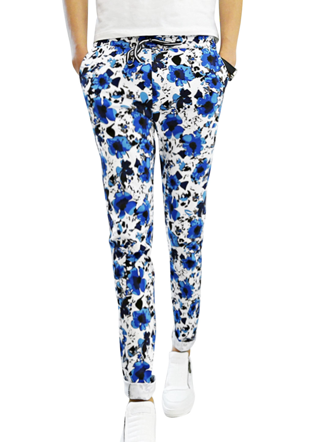 Man Blue White Mid Rise Floral Prints Elastic Waist Drawstring Tapered Pants W28