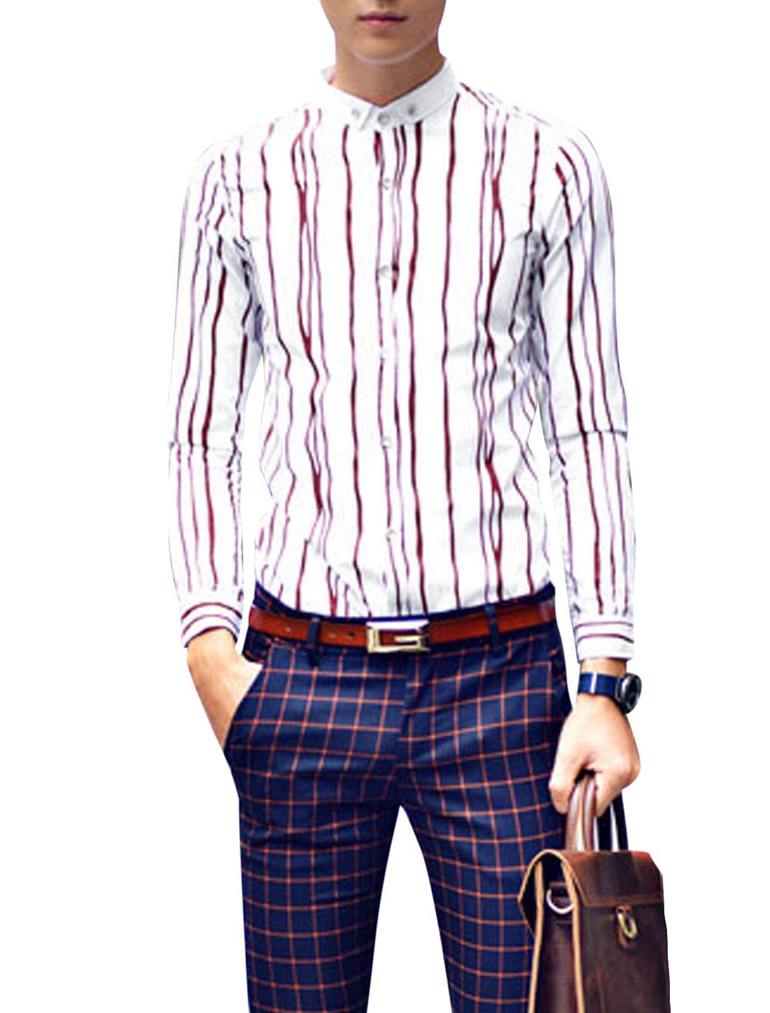 Man Burgundy White Stripes Pattern Button Down Slim Fit Long Sleeves Shirt S