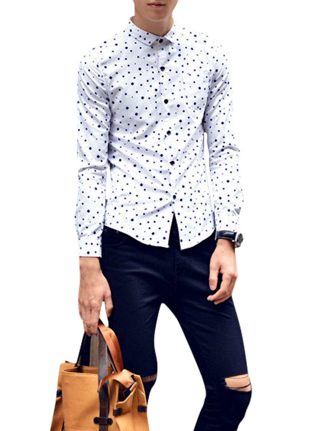 Man Navy Blue White Square Prints Chest Pocket Button Closure Slim Fit Shirt S