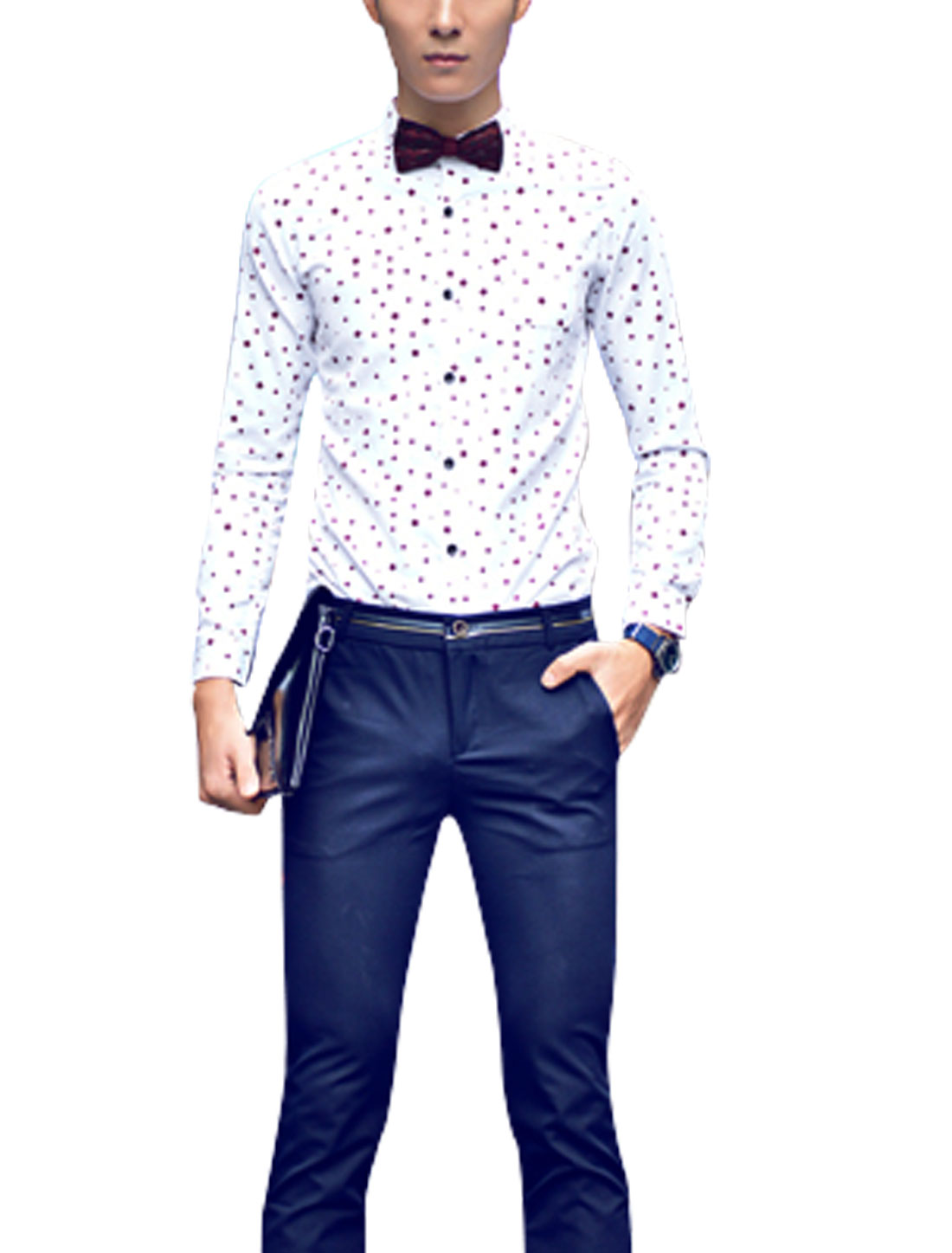 Man Burgundy White Square Prints Chest Pocket Button Down Slim Fit Casual Shirt S