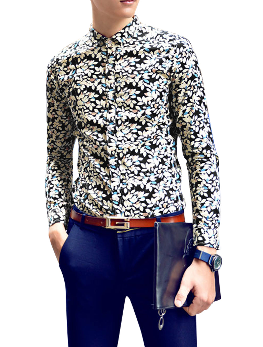 Man Beige Black Floral Prints Button Closure Slim Fit Point Collar Casual Shirt S
