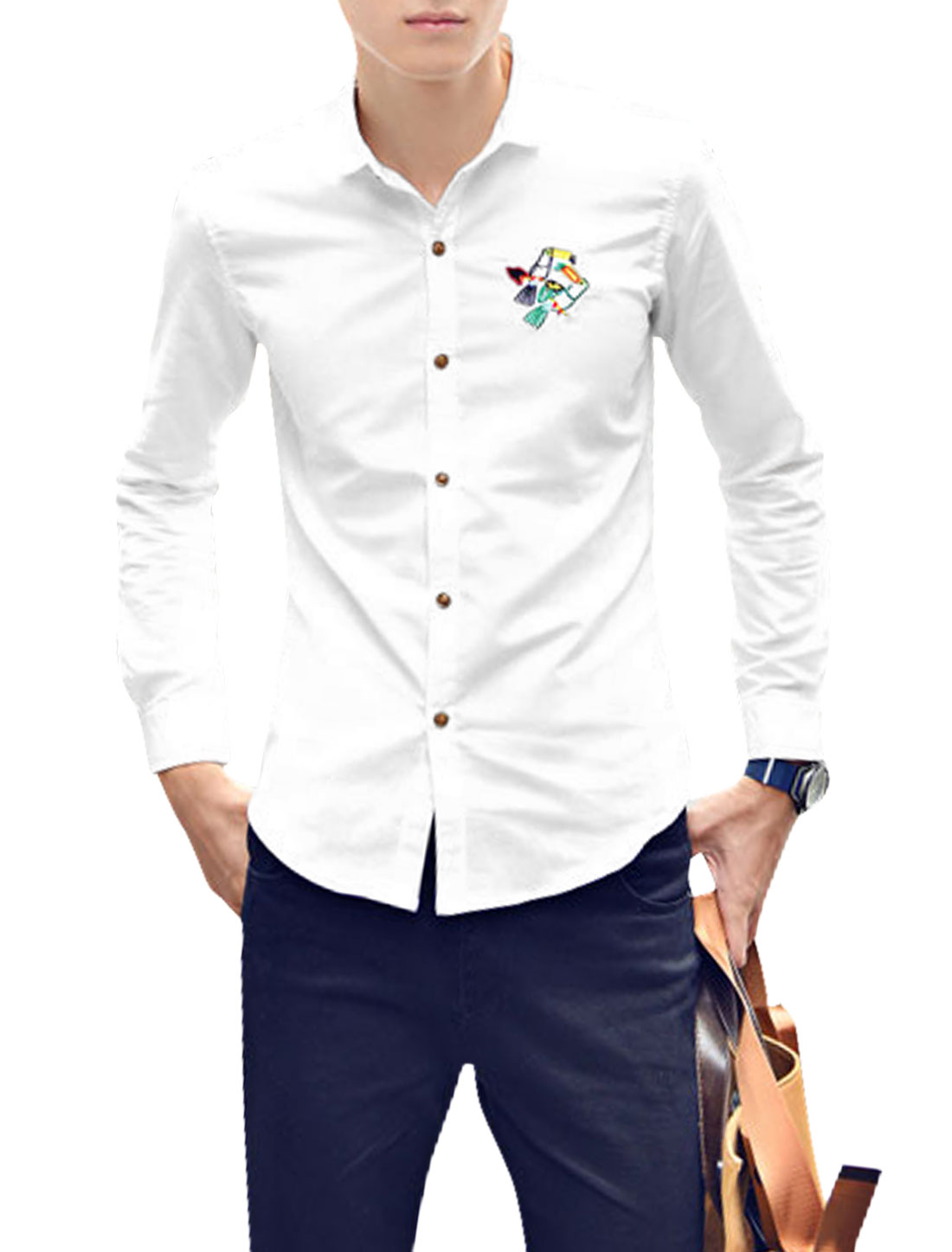 Men Point Collar Bird Embroidery Detail Long Sleeve Casual Shirt White S