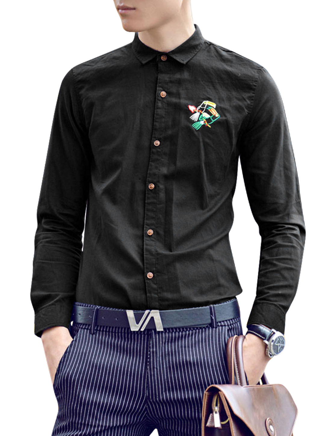Men Long Sleeve Point Collar Button Closure Chic Shirt Black S