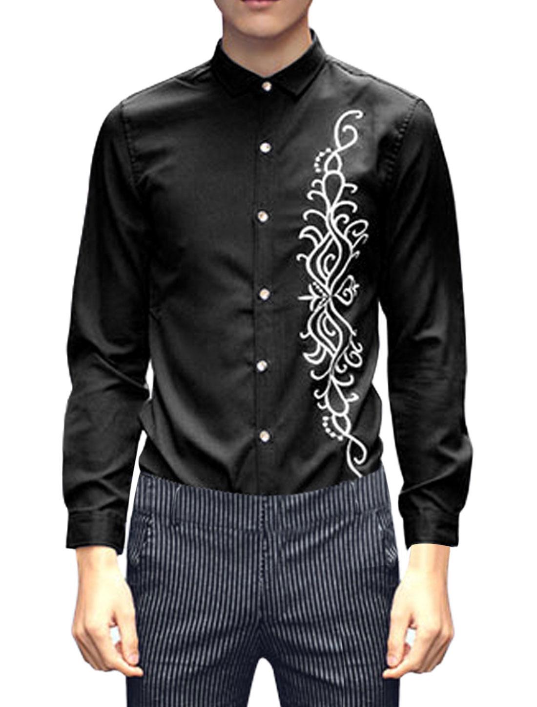 Men Point Collar Long Sleeve Round Hem Chiffon Shirts Black M