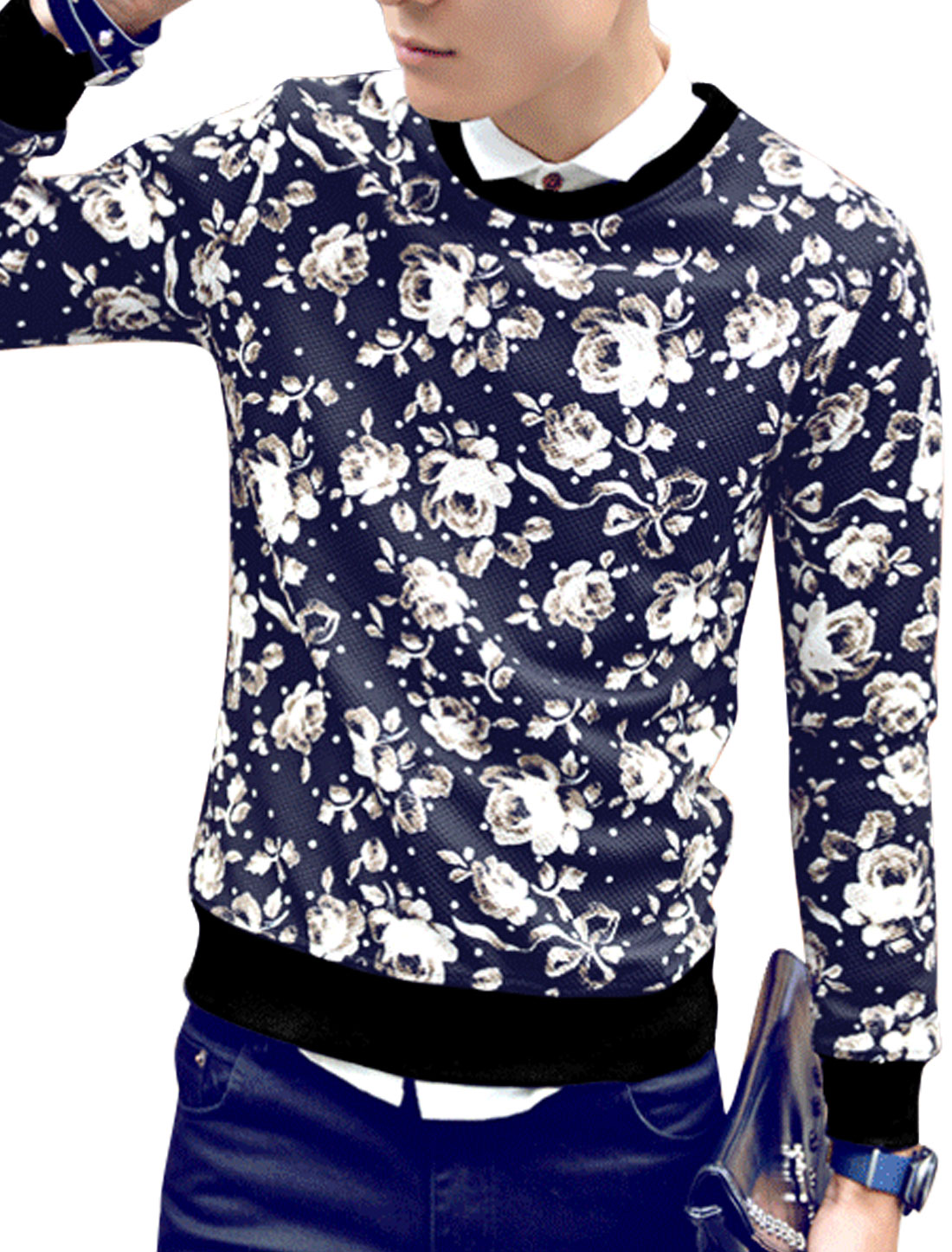 Men Round Neck Dots Flower Print Ribbed Trim Pullover Chic T-Shirt Navy Blue M