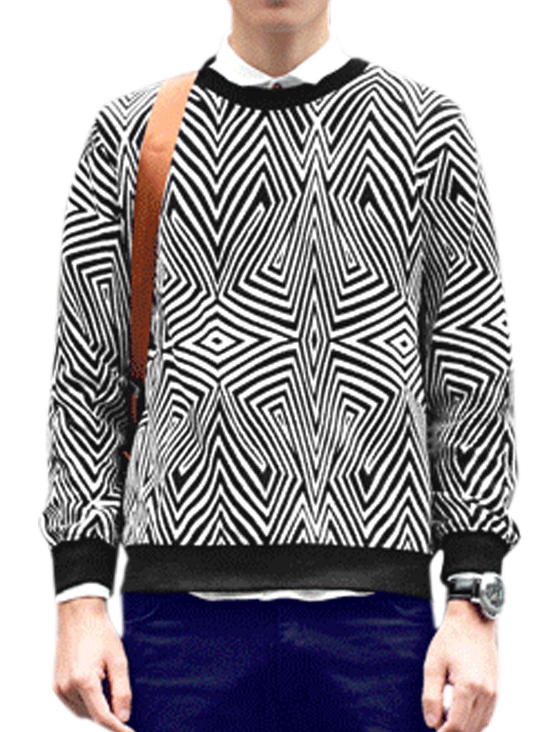 Men Round Neck Geometric Pattern Allover Print Pullover T-Shirt Black White M