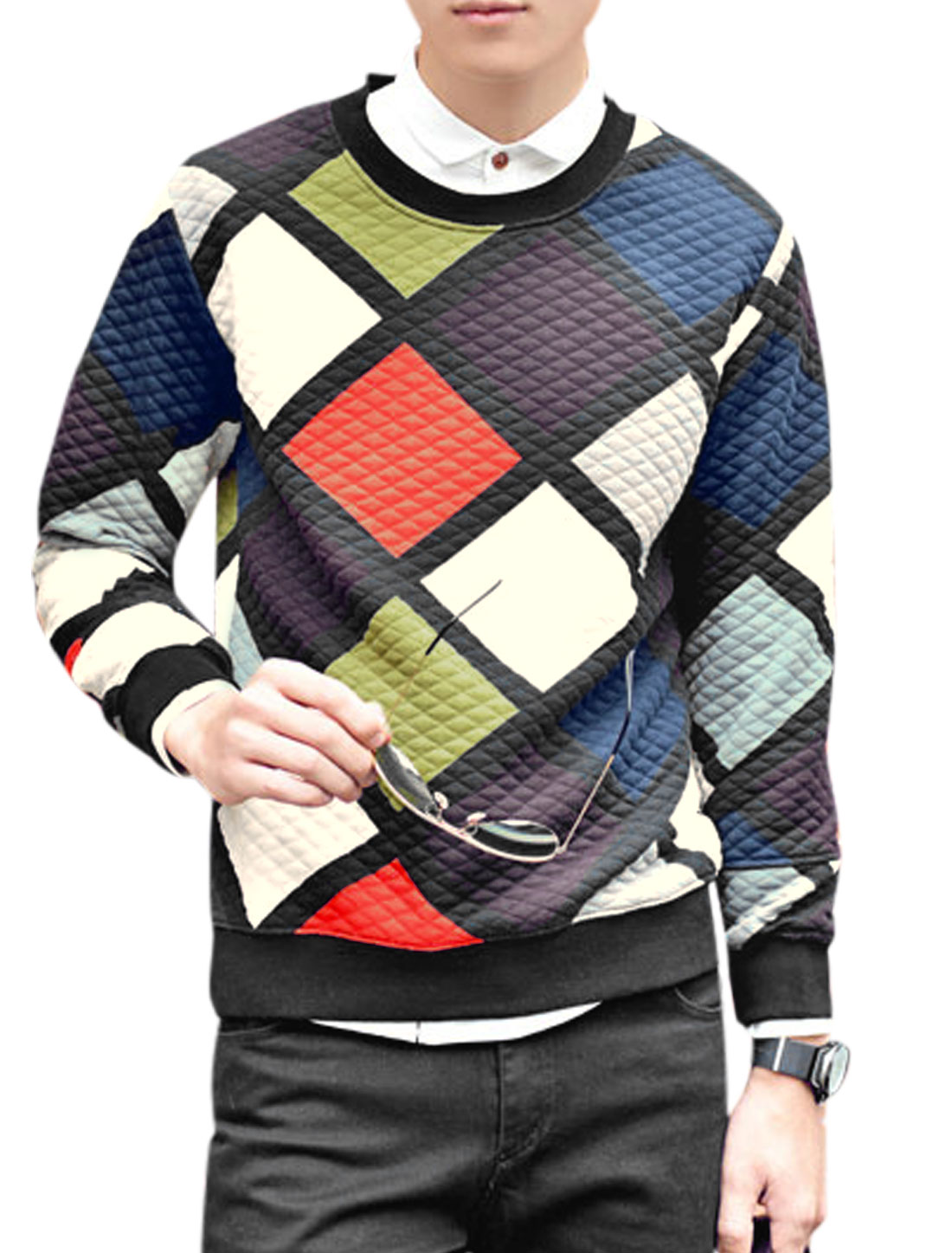 Men Round Neck Long Sleeve Argyle Pattern Pullover Chic Shirt Multi Color M