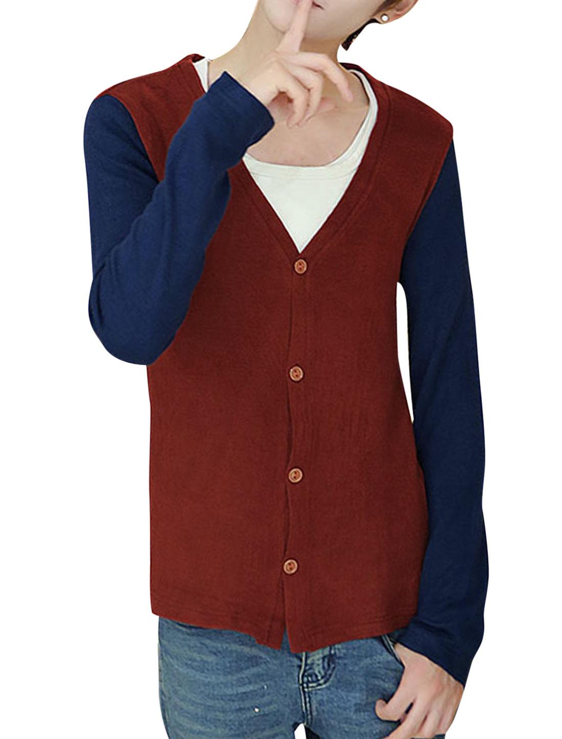 Man Burgundy Single Breasted Color Block Long Sleeves Lesiure Cardigan M