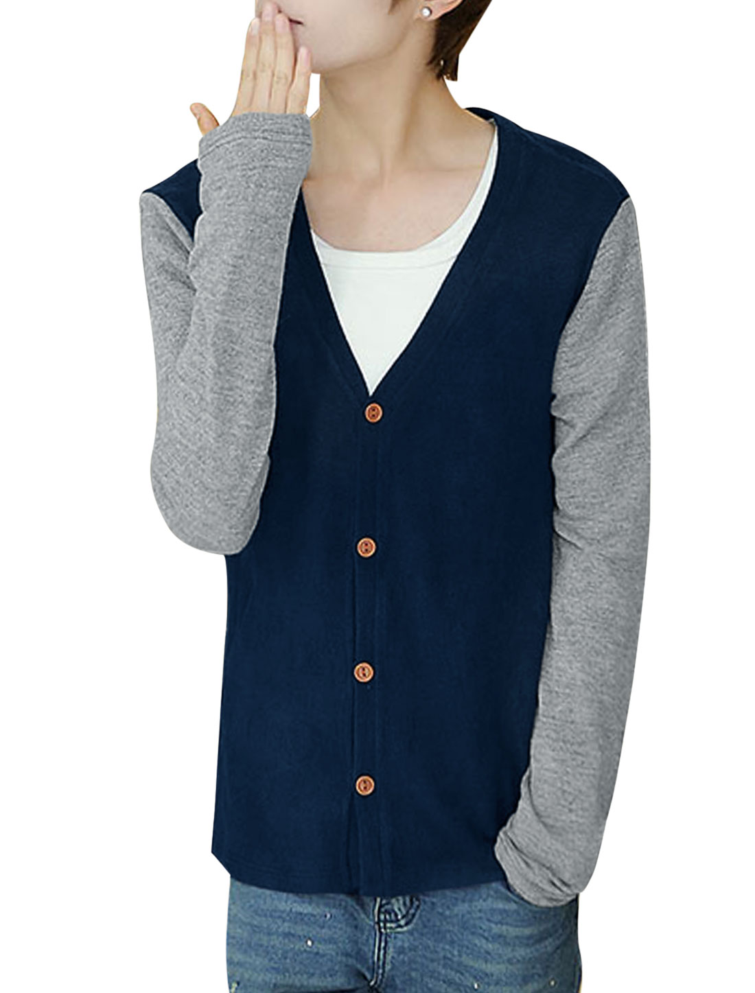 Man Navy Blue Button Closure Color Block Deep V Neck Lesiure Cardigan M