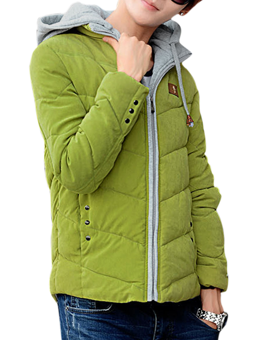 Men Long Sleeves Zip Closed Removable Hood Padded Coat Olive M
