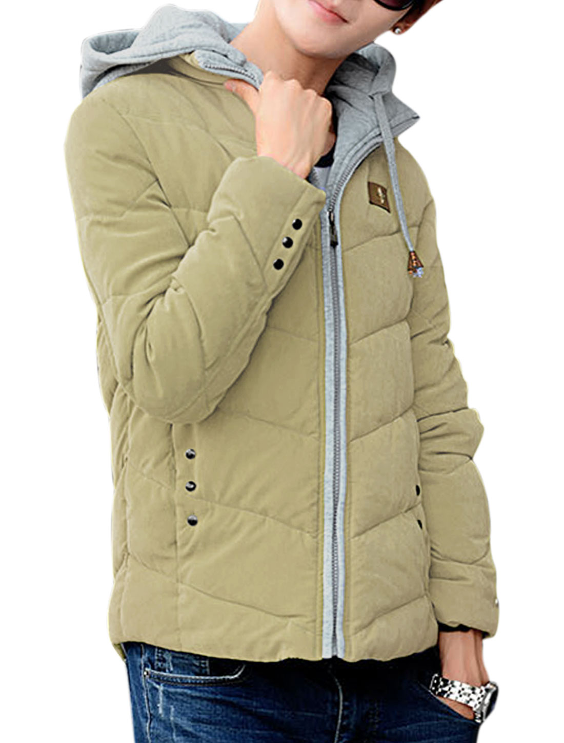 Man Long Sleeves Stand Collar Zip Up Light Khaki Padded Coat M