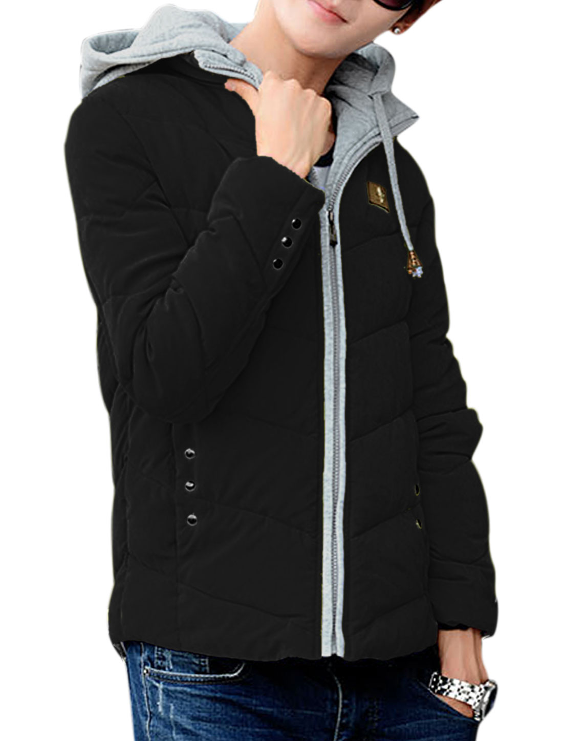 Zip Closed Front Studs Decor Detail Black Padded Coat for Men M