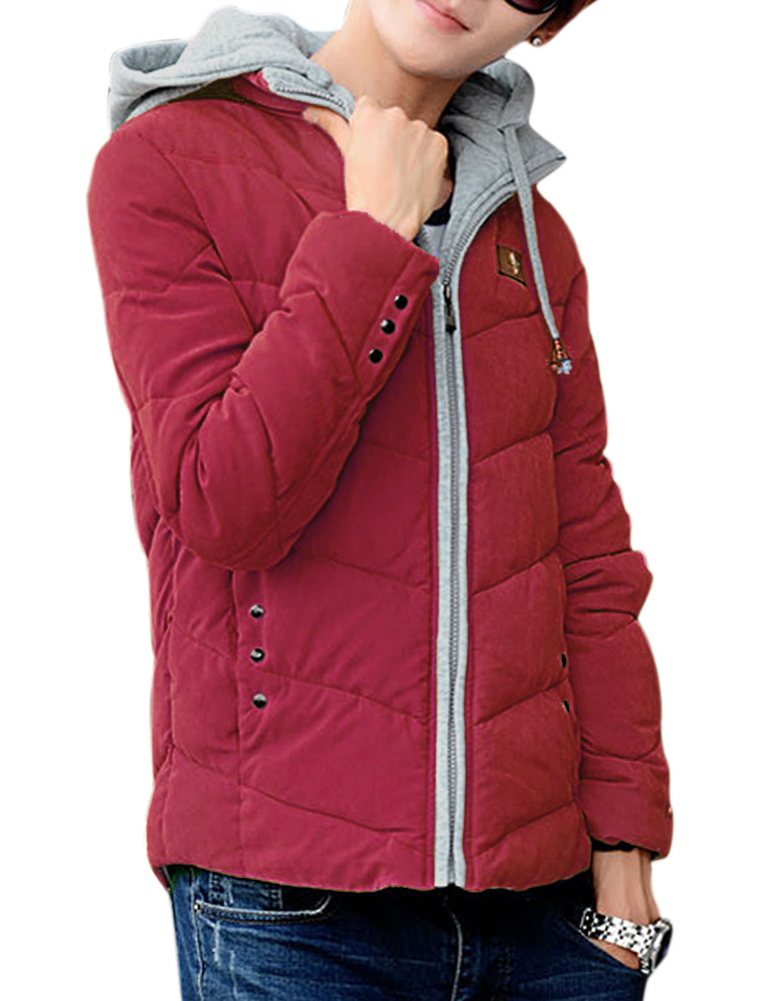 Zip-up Hood Design Zip Closure Front Warm Red Padded Coat for Man M