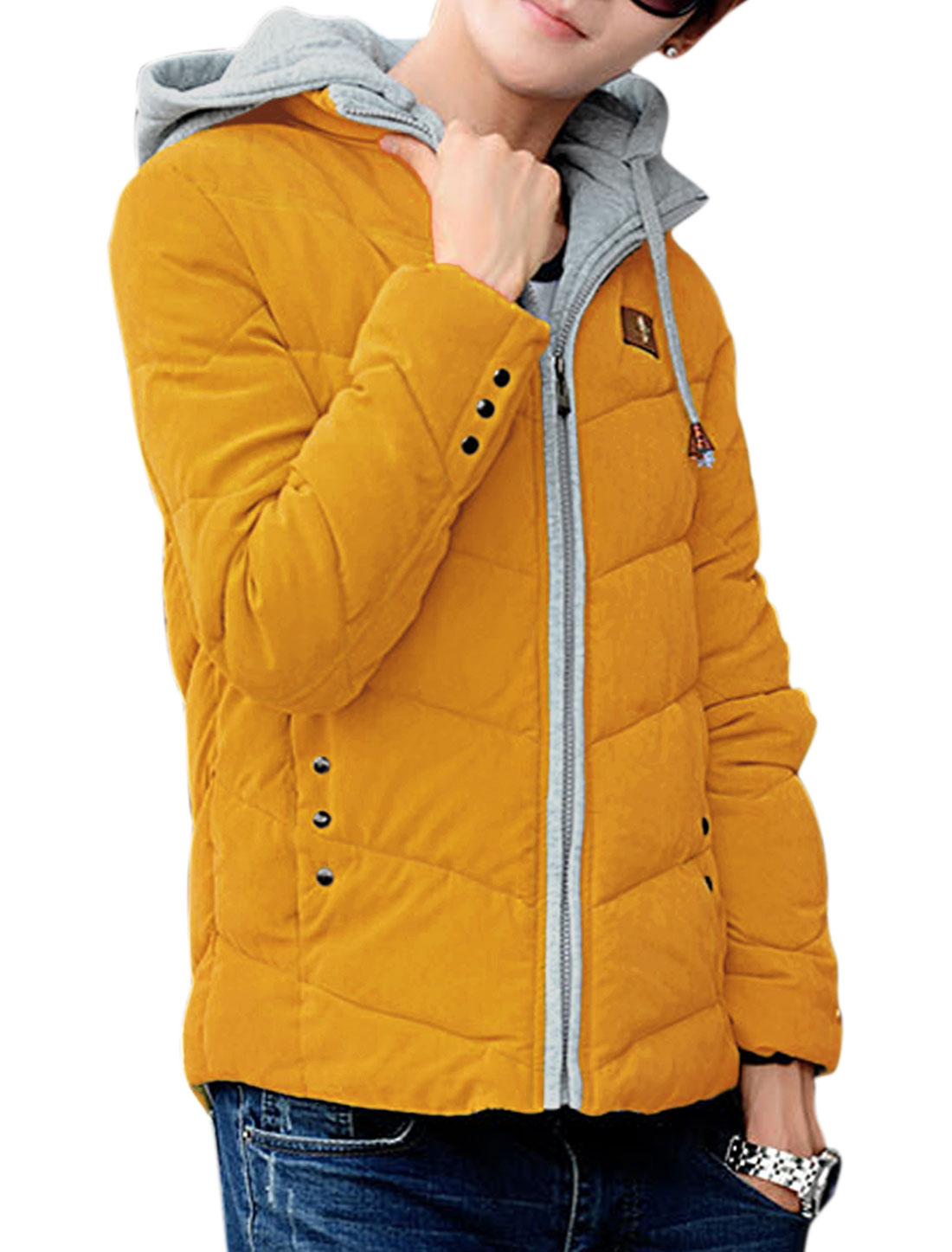 Man Fashion Zip Closed w Removable Hood Yellow Padded Coat M