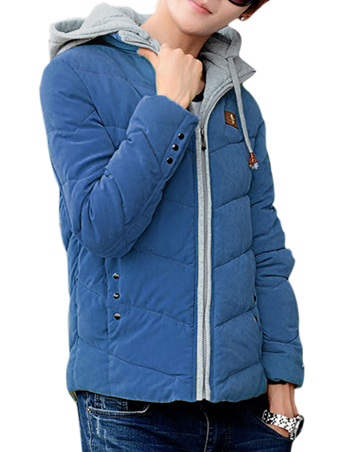 Man New Style Design Zip Up Long Sleeve Hooded Dark Blue Padded Coat M