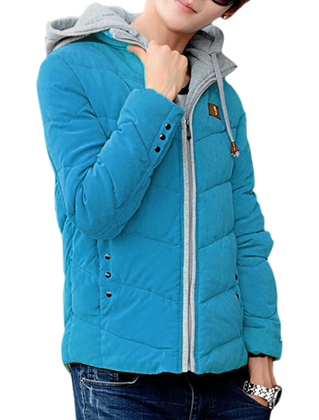 Stylish Long Sleeve Zip-up Hood Stand Collar Blue Padded Coat for Man M