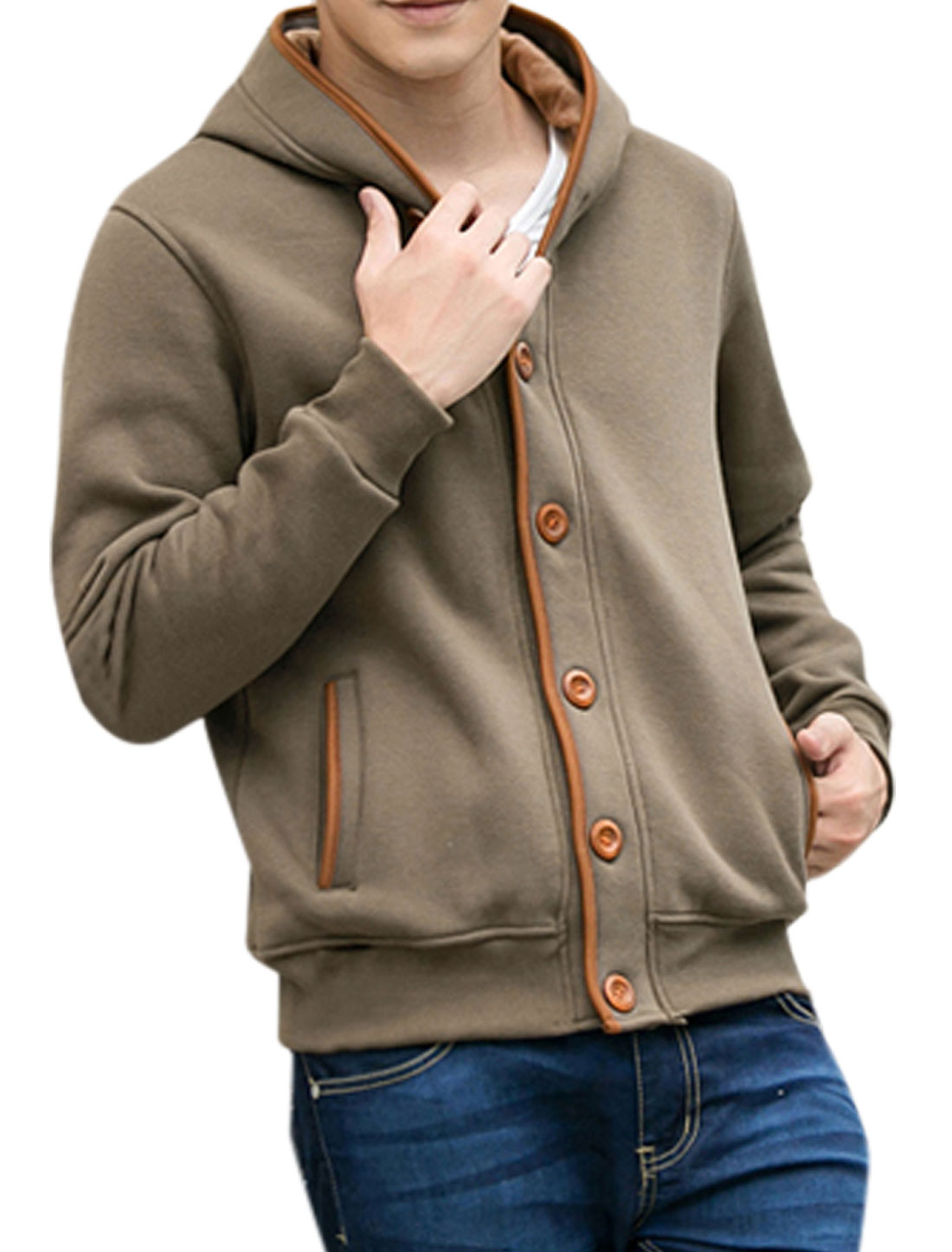 Man Long Sleeve Single Breasted Front Hooded Jacket Brown M