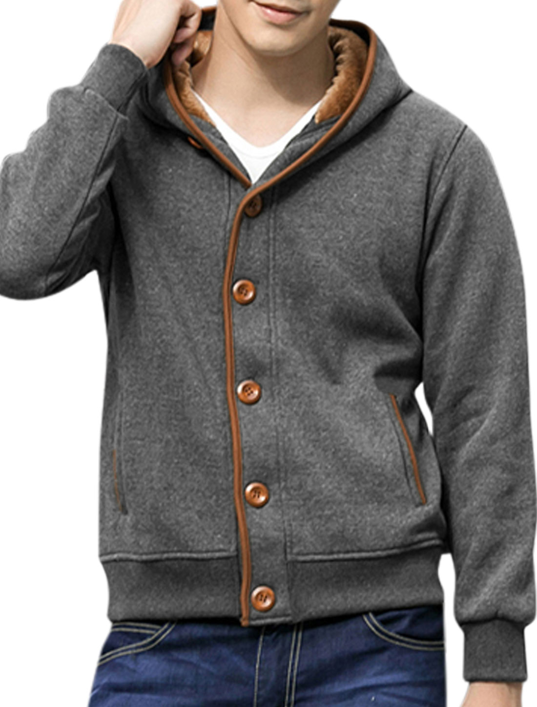 Man Long Sleeves Double Pocket Design Dark Gray Hooded Jacket M