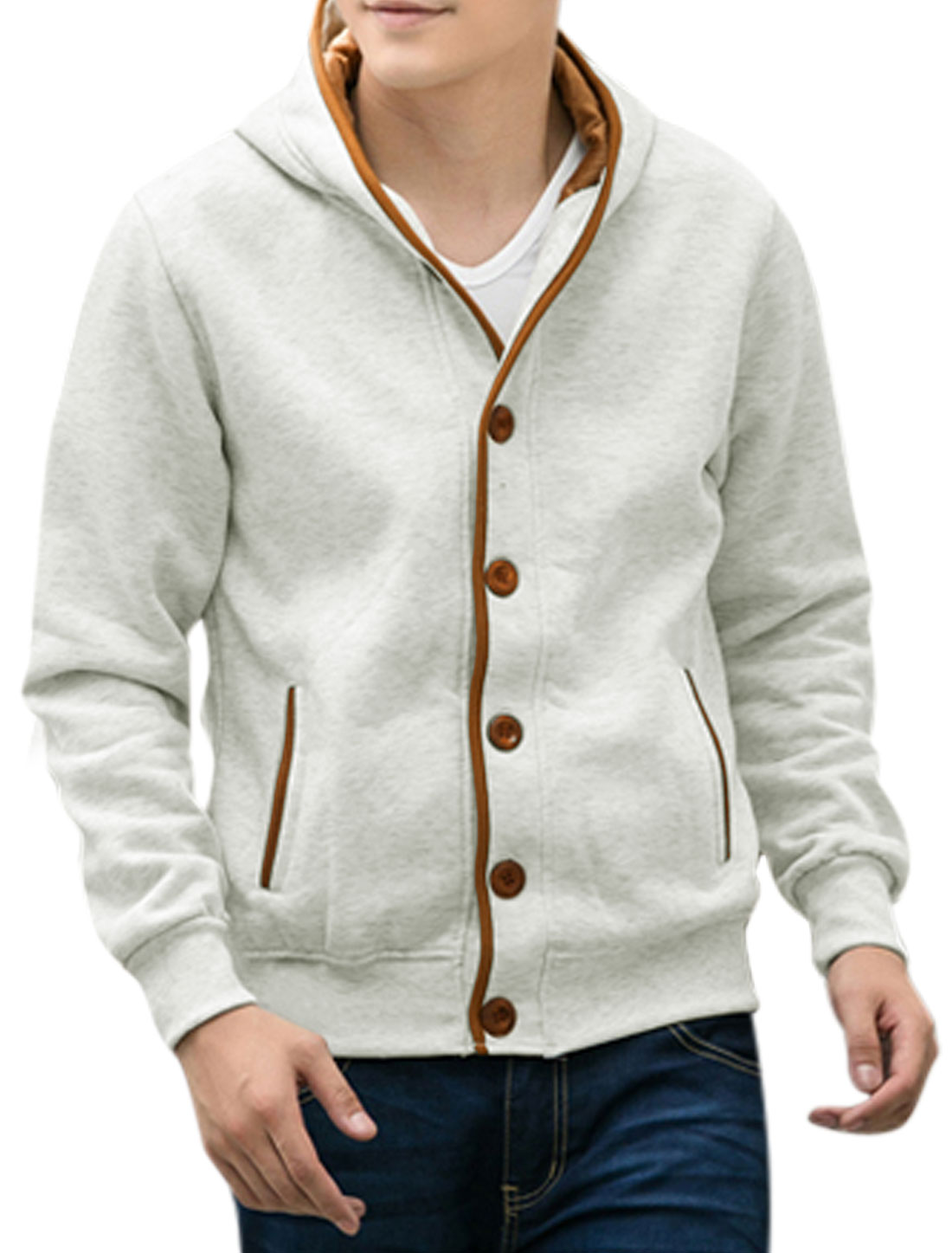 Button Closed Long Sleeves Leisure Light Gray Hooded Jacket for Men M