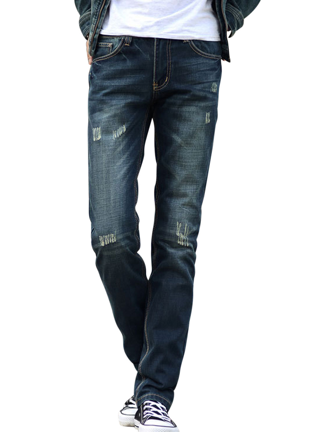 Men Mid Rise Destroied Design Double Front Pockets Chic Denim Pants Navy Blue W30